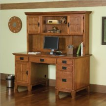 Home Style 5180-18 Arts and Crafts Double Pedestal Desk, Cottage Oak Finish