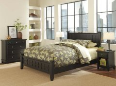 Home Style 5181-5018 Arts and Crafts Queen Bed, Nightstand and Chest, Black