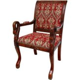 Oriental Furniture European Style Upholstered Furniture, 40-Inch Queen Anne Sitting Room Chair with Crimson Fleurs-De-Lis