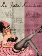 PARIS France LA VILLE LUMIERE Vintage Art Poster Print Pinup 18X24