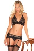 Rene Rofe Women's 2 Piece Lace Mesh Bra and G-String with Garters