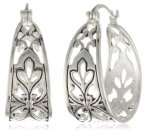 Sterling Silver Bali Inspired Filigree Triangle Shape Hoop Earrings (1.0inch Diameter)