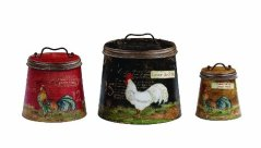Creative Co-Op Decorative Tin Containers with Rooster Motif