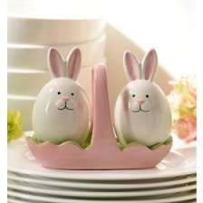 Cute Adorable Easter Bunny Rabbit Egg Tulip Tray Salt & Pepper Spice Seasoning Shaker Set Whimsical Kitchen Decor Table Counter Top Dining Room Spring Accent Decoration