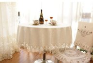 Diaidi Lace Tablecloth Round for Weddings, Shabby Chic Dining Table Set, Luxury Kitchen Plaid Table Cloth, Oval Table Cover White, Hotel Polyester Table Overlays