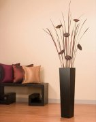 Green Floral Crafts Lotus Pods in Tall Black Floor Vase