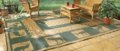 Guide Gear 6x9' Reversible Lodge Patio Mat Khaki  Hunter Green