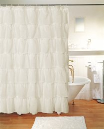 Gypsy Ruffled Shower Curtain Cream