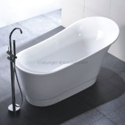 HelixBath Olympia Freestanding Modern Acrylic Soaking Bathtub 67inch White