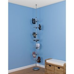 Household Essentials Floor to Ceiling 6-Tier Revolving Shoe Tree with Basket, Silver