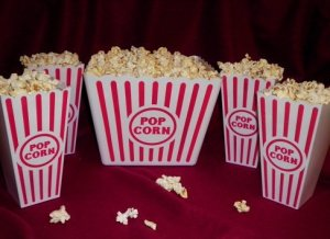Plastic Popcorn Tubs for Movie Night! - 1 Jumbo Tub and 4 Individual Tubs