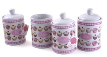 Set of 4 Iced Fancies Ceramic Storage Jars