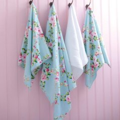 STUNNING SHABBY BLUE PINK ROSE CHIC 100% COTTON BATH SHEET TOWEL 100CM X 150CM