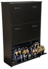 Triple-Stack Shoe Cabinet w Tilting Doors in Black Finish