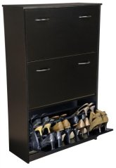 Triple-Stack Shoe Cabinet w Tilting Doors in Black Finish