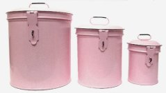 Vintage Style Canister Set ~ Kitchen Storage Canisters E1 Decorative Containers ~ Shabby Chic Pink Enamel