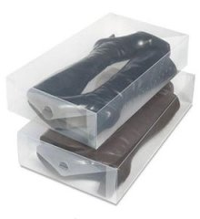 Whitmor 6362-2693-2 Clear Vue Collection Boot Box, Set of 2