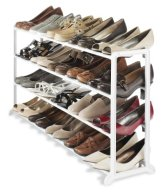Whitmor 6780-3139-WHT White Resin 20 Pair Shoe Rack