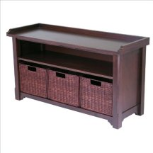 Winsome Wood MilanWood Storage Bench in Antique Walnut Finish with Storage Shelf and 3 Rattan Baskets in Espresso Finish
