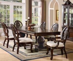 7 PCs Traditional Formal Dining Set in Deep Rich Cherry Finish