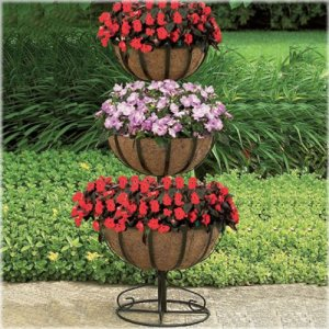 CobraCo 3TFP-B 3-Tier Floor Planter with 12-inch, 14-inch, 16-inch Baskets