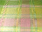 EC-B60 Easter Spring Pastel Plaid Tablecloth 60 inch Round 100% Cotton Fresh Green Pink Yellow White