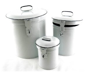 French Country Canister Set ~ Kitchen Storage Canisters E2~ Decorative Containers ~ White Retro Enamel