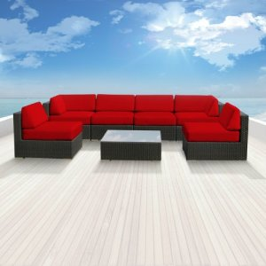 Genuine Luxxella Outdoor Patio Wicker Sofa Sectional Furniture BELLA 7pc Gorgeous Couch Set RED