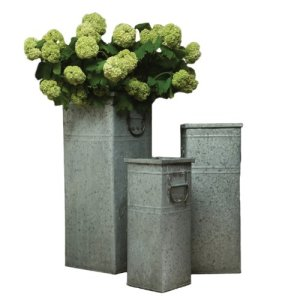 HomArt Square Galvanized Containers, Set of 3