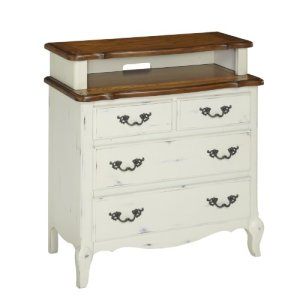 Home Styles 5518-041 The French Countryside Media Chest, Oak Rubbed White