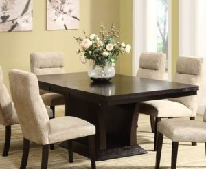 Homelegance Avery Extension Leaf Pedestal Dining Table in Espresso