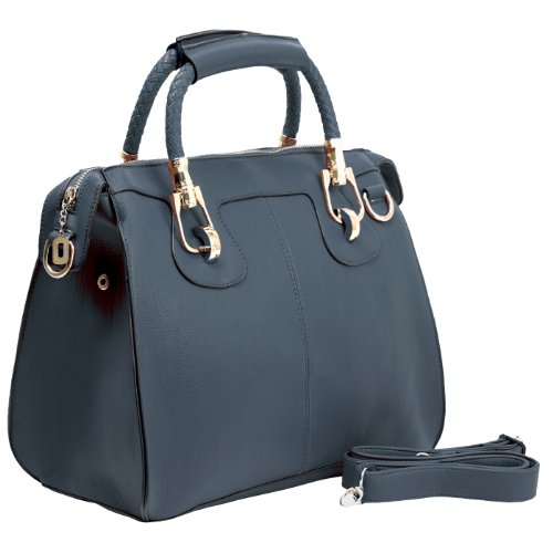 MG Collection MARISSA Top Double Handle Doctor Style Handbag Blue