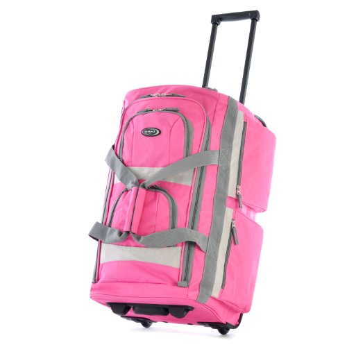 Olympia Luggage 29inch 8 Pocket Rolling Duffel Bag Hot Pink