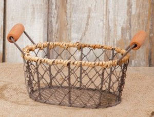 Small Wire Egg Basket ~ Oval, Wooden Handles