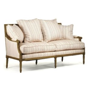 St. Germain French Country Red Stripe Louis XVI Natural Linen Sofa