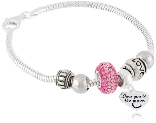 Sterling Silver Love You to The Moon Bead Bracelet