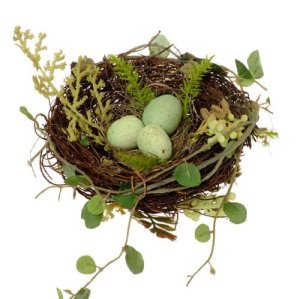 Twig & Leaves Song Bird Nest with 3 Eggs Decorative, 6 Inches