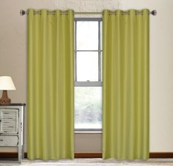 Vegas Faux-Silk Window Panel Set in Chartreuse (set of 2)