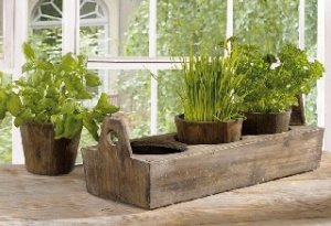 Wooden Garden Plant Tray - Three-sectioned Tray for Herbs And Flowers Product SKU PL221917