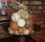 Bag of Natural Fiber Decorative Balls Spheres Orbs