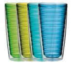 Boston Warehouse 24-Ounce Insulated Tumbler Cool Tones, Set of 4
