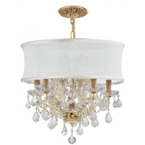 Crystorama Lighting 4415-GD-SMW-CLS Chandelier with Swarovski Elements Crystals and Silk Shades, Gold