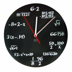 DCI Matte Black Powder Coated Metal Mathematics Blackboard Pop Quiz Clock, 11.5 inch Diameter