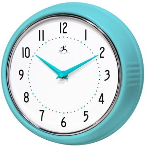 Infinity Instruments Turquoise Retro 9.5-Inch Metal Wall Clock