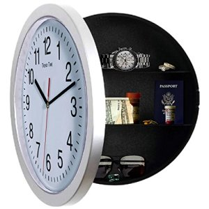 Kitchen wall clock with a hidden safe conpartment