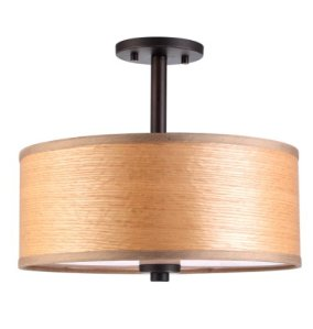 Woodbridge Lighting Woodbridge Lighting 13435MEB-SV1150B Semi Flush Mount, Metallic Bronze, Brulee Wood Veneer
