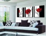 Abstract Art In Black White Red Decorative Wall Decorative Canvas Print Set Of 3 (no frame)