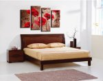 Canvas Prints, Stretched and Framed, Huge Canvas Print 4 Panels Red Poppies on Brown Floral Wall Art and Home Decoration, Free Shipping P4RFL001