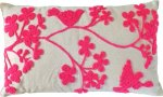 Decorative Special Embroidery Flower & Bird Floral Throw Pillow COVER 20x12inch Pink