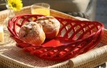Eucalyptus Stoneware American Made Ceramic Bread and Fruit Basket, Oval red